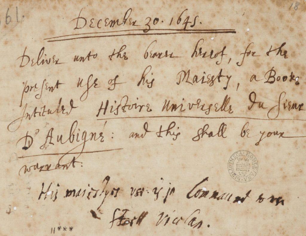 Charles I Letter